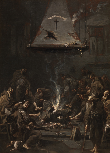 , 'MONKS WARMING THEMSELVES AT THE FIRE,' , Rob Smeets Old Master Paintings