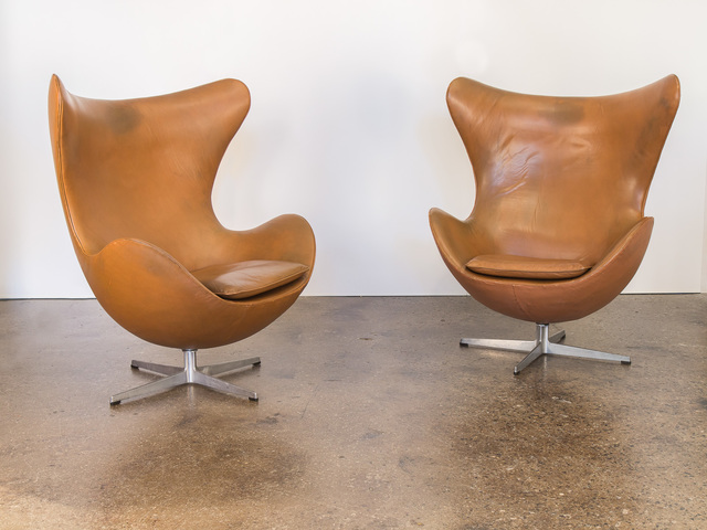 , 'Cognac Leather Egg Chairs,' ca. 1960, Open Air Modern