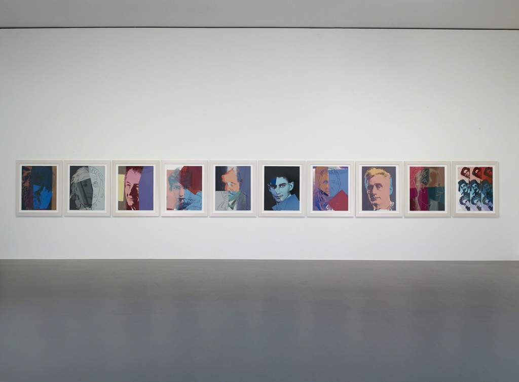 "Installation view of Andy Warhol, ""Ten Portraits of Jews of theTwentieth Century"" (1980). Fondation Louis Vuitton, Paris. © The Andy Warhol Foundation for theVisual Arts, Inc. / Adagp, Paris 2015 pour l'œuvre de l'artiste. PhotoFondation Louis Vuitton / Marc Domage."