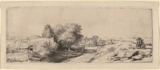 Rembrandt van Rijn, 'Landscape with a Milkman', ca. 1650, Print, Etching and drypoint, National Gallery of Art, Washington, D.C.