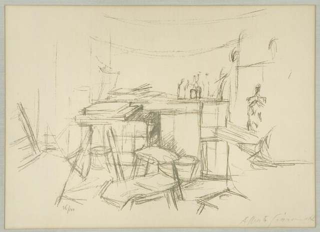 Alberto Giacometti, 'Alberto : The Studio with Bottles', 1957, Print, Etching, Nikola Rukaj Gallery