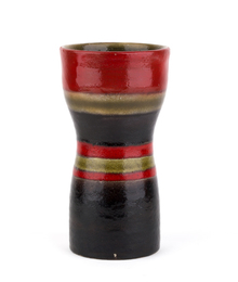 Vase with black, red, and beige stripes