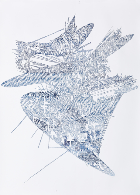 , 'Erosion Drawings: Blue Print for an Undesired World 2,' 2015, WHATIFTHEWORLD