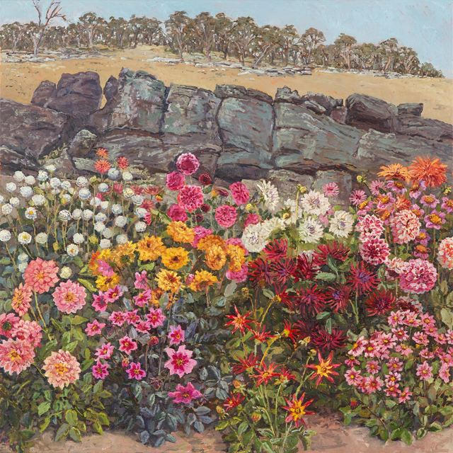 Lucy Culliton, 'Dahlia bed in front of rocks', 2018, Jan Murphy Gallery