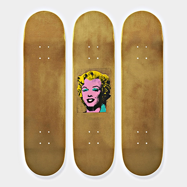, 'Set of Three  (3) Gold Marilyn Monroe Limited Edition Skate Decks (Numbered with Signed COA) & hanging hinges - MINT,' 2015, Alpha 137 Gallery