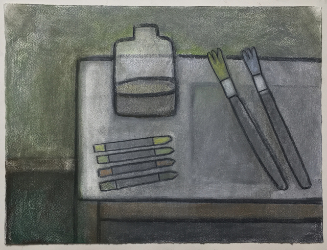 William Wright, 'Painter's table', 2018, Drawing, Collage or other Work on Paper, Charcoal and pastel on paper, Galerie Ariane C-Y