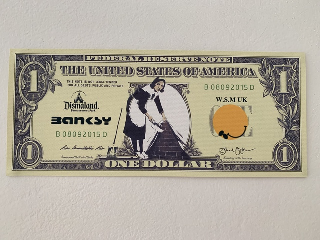 """Banksy, 'BANKSY DISMALAND US DOLLAR """"SWEEP IT UNDER THE CARPET MAID"""", DISMAL DOLLAR, COMPLETE WITH COA , LTD EDT', 2015, Arts Limited"""