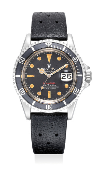 """Rolex, 'An extremely rare stainless steel wristwatch with center seconds, date and """"pumpkin"""" dial. Made for the Peruvian army', Circa 1974, Phillips"""