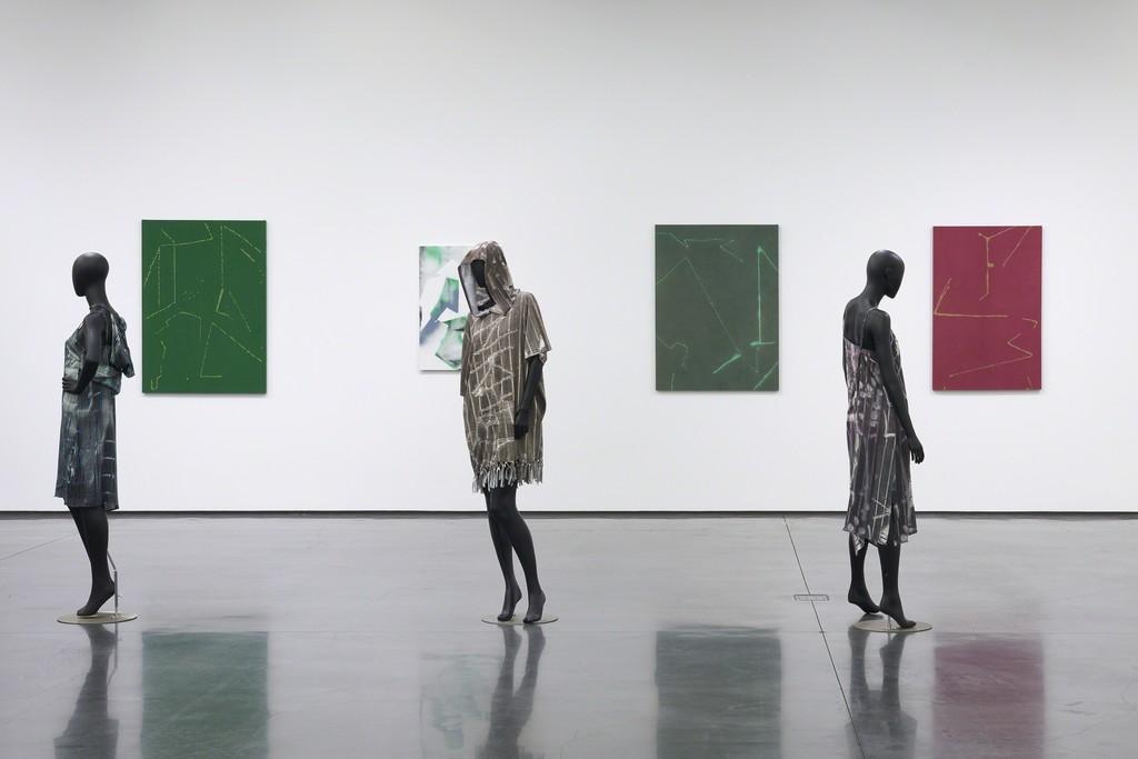 Installation view: Cheryl Donegan, GRLZ + VEILS, 2018. Photo: Tony Prikryl