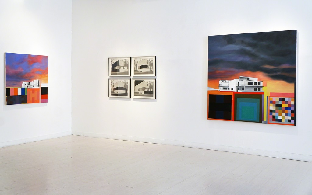 "Left: Gropius Landscape (Master's House Kandisnky/ Klee I) 2014, oil/canvas 42"" x 42""