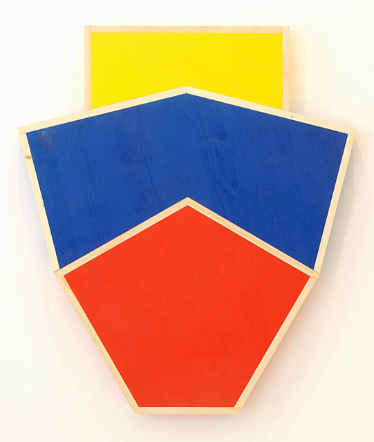 ", '""Red Irregular Pentagon Over Irregular Blue Hexagon Over Yellow Square"",' 2017, Leyendecker"