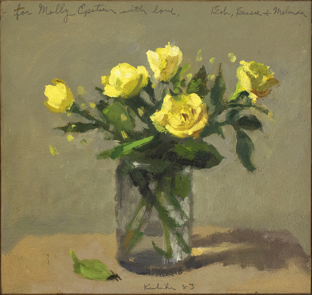 , 'Yellow Roses in a Glass with Fallen Leaf,' 1983, Davis & Langdale Company, Inc.