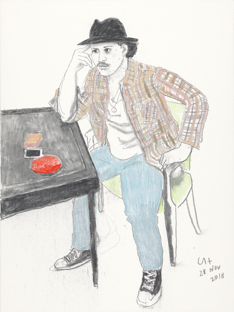 David Hockney, 'Bruno Mars', 2018, Painting, Charcoal and crayon on canvas, Annely Juda Fine Art