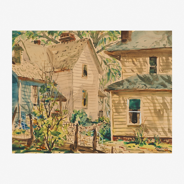 Henry Martin Gasser, 'Back Yard (sic)', Painting, Watercolor on paper (framed), Rago/Wright