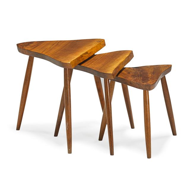 George Nakashima, 'Three nesting tables, New Hope, PA', 1985, Rago/Wright
