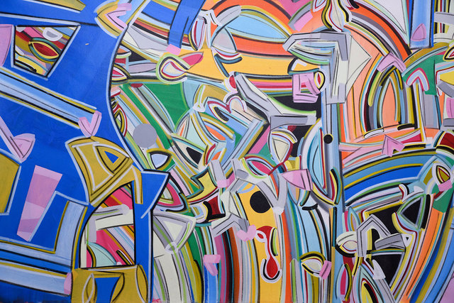 """Amit Kalla, 'Transending Forms, Abstract, Acrylic Painting, Bands of color by Indian Artist Amit Kalla """"In Stock""""', 2018, Gallery Kolkata"""