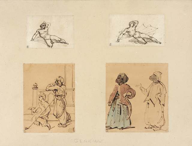 Théodore Géricault, 'Four drawings: Two Reclining Male Nudes and Two Studies of Arabs', Jill Newhouse Gallery
