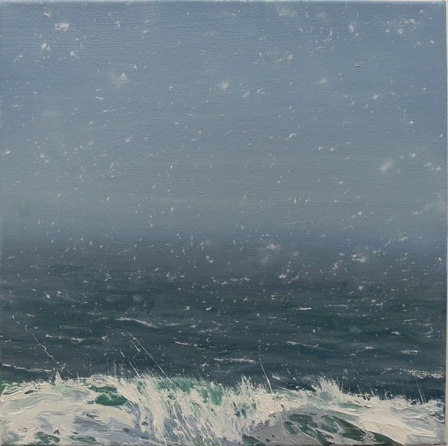 ", '""Spring Flurries"" oil painting of light snow over a dark blue and gray ocean,' 2010-2017, Eisenhauer Gallery"