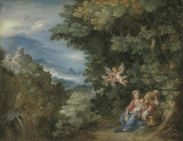 Follower of Jan Breughel I, 'The Rest on the Flight into Egypt with Saint John the Baptist, the Temple of the Sibyl at Tivoli in the distance', Christie's Old Masters