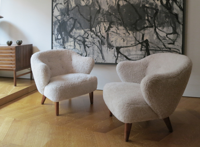 , 'A pair of elegant sheepskin armchairs,' 1940, Vance Trimble