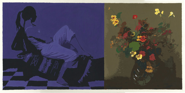 , 'Diptych with Seated Figure and Fantin-Latour Nasturtiums,' 2017, Russo Lee Gallery