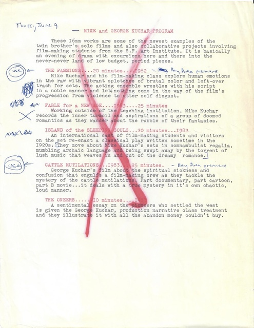 , 'Program Note (annotated),' ca. 1993, San Francisco Cinematheque