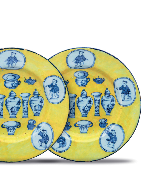 , 'Pair of Yellow-Ground Dishes,' ca. 1765, Aronson Antiquairs