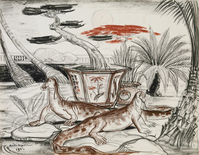 André Maire, 'Asian Water Monitor II', 1953, Drawing, Collage or other Work on Paper, Pencil, charcoal and sanguine on paper, signed, Galerie Dumonteil