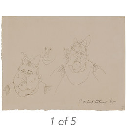 Untitled Studies (T-23); Fat Child (34-36);  Untitled, Children in a Landscape (T-42); Untitled, Seated Figure (38-18); Untitled, Figure with Bow (35-35)