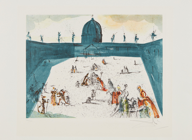 Salvador Dalí, 'Place St-Pierre', 1972, Print, Heliogravure in colors, on Arches paper, with full margins, Phillips