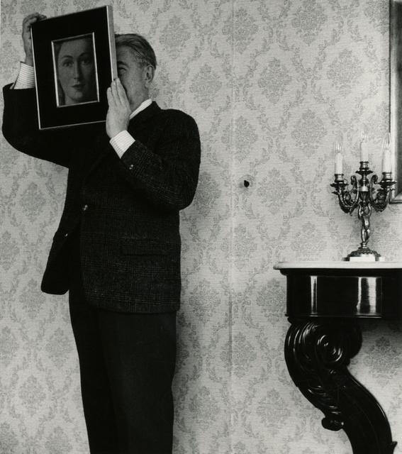 """, 'René Magritte posant avec """"La Ressemblance"""" (partie de L'évidence éternelle"""" (1954),' , Bruce Silverstein Gallery"""