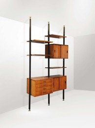 A bookcase with a metal and wooden structure