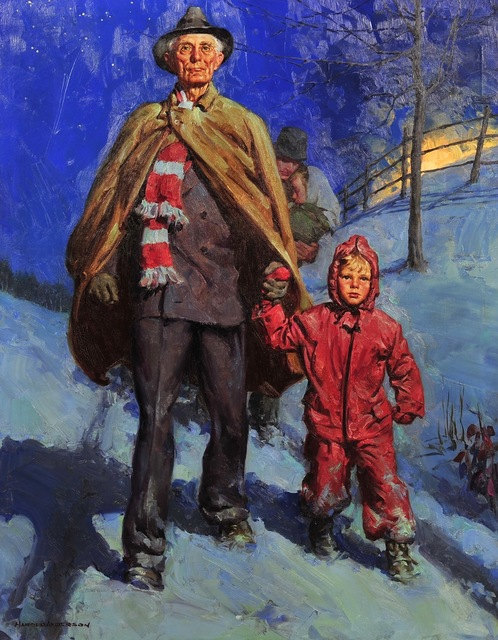 Harold Anderson, 'Man and Grandson Walking in the Snow', 1938, The Illustrated Gallery