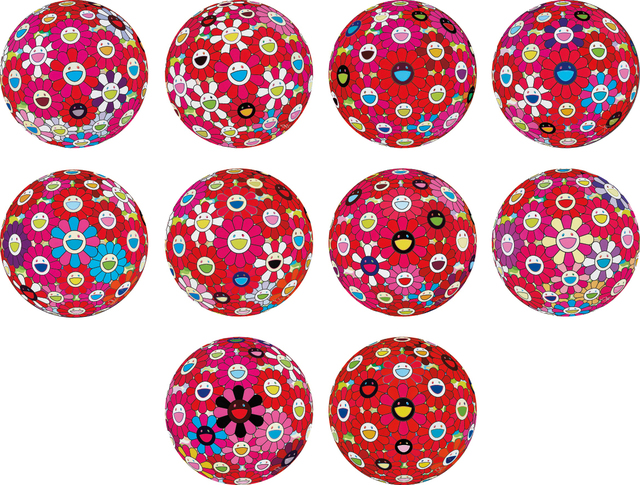 Takashi Murakami, 'Flowerball (3D) - Turn Red!; Flowerball (3D) – Papyrus; Flowerball (3D) – Red, Pink, Blue; Hey! You! Do You Feel What I Feel?; Flowerball (3D) – Blue, Red; Comprehending the 51st Dimension; Letter to Picasso; Groping for the Truth; There is Nothing Eternal in this World. That is Why You are Beautiful; and Flowerball (3D) – Red Ball', 2013-2014, Phillips