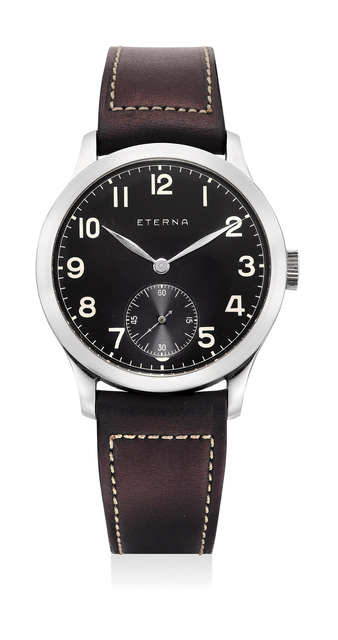 Eterna, 'Anattractive stainless steel wristwatch with black dial', Circa 1937, Phillips