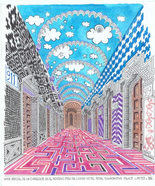 , 'Vista parcial de un corredor en el noveno piso del lujoso Hotel Royal Cownsnofski Palace Limited,' , MAIA Contemporary
