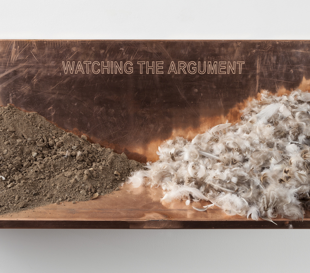 Robert Kinmont, 'the argument', 2014, Sculpture, Copper, dirt and feathers, Alexander and Bonin