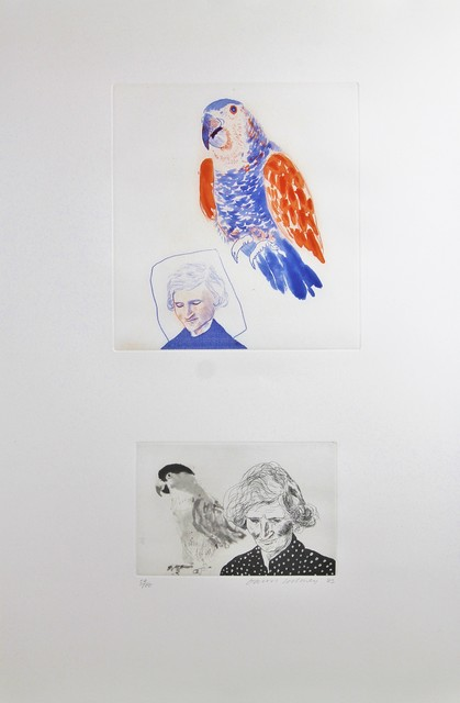 David Hockney, 'My mother with a parrot - 1973', 1974, Castlegate House Gallery