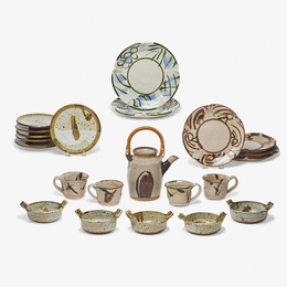 Teapot, four teacups, two dinner plates, four lunch plates, six butter plates, and five small two-handled bowls, USA