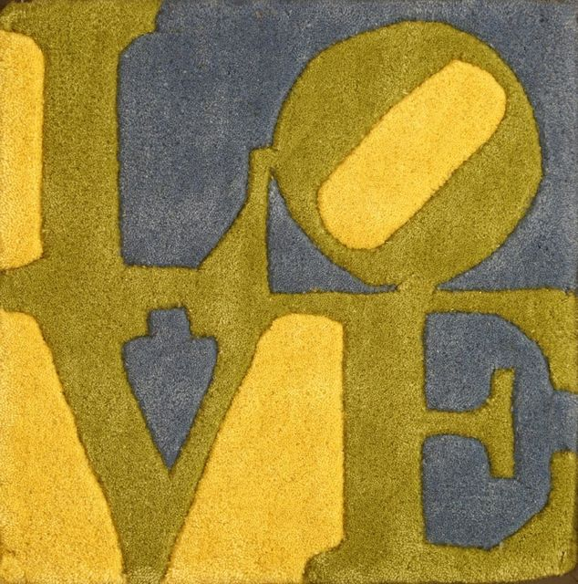 After Robert Indiana, 'SPRING; SUMMER; AUTUMN; WINTER', Reproduction, Four miniature 'Love' rugs, Sworders