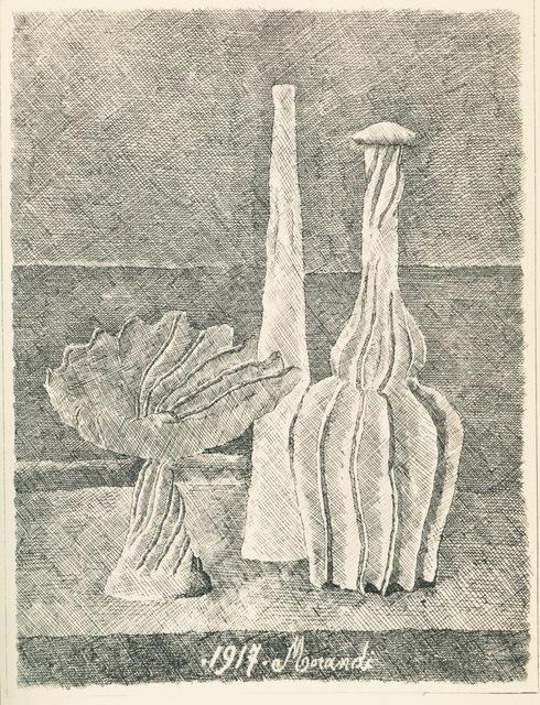 , 'Natura morta con compostiera, bottiglia lunga e bottiglia scannellata,' 1928, Galleria d'Arte Maggiore G.A.M.