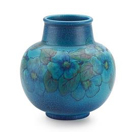 Bulbous Double Vellum vase with cherry blossoms (uncrazed), Cincinnati, OH