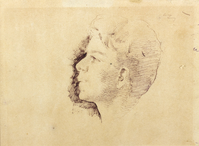 Giuseppe Pellizza da Volpedo, 'Head of a boy', 1885, Drawing, Collage or other Work on Paper, Ink on paper, Bertolami Fine Arts