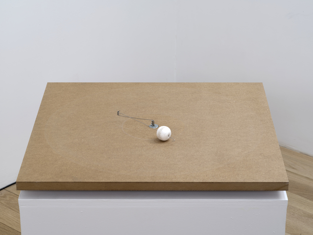 , '1 prepared dc-motor, cotton ball, mdf 60x60cm,' 2013, bitforms gallery