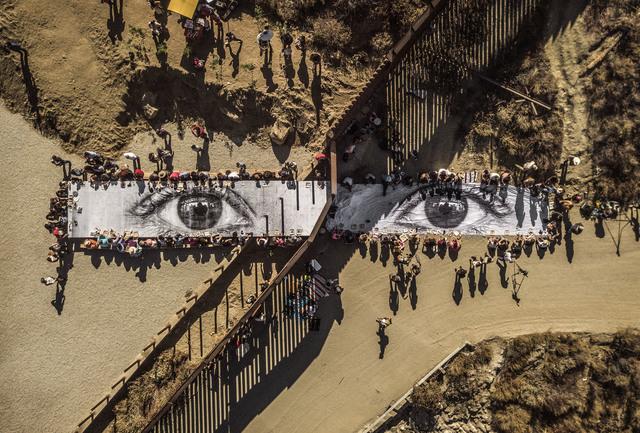 , 'Migrants, Mayra, Picnic across the border, Tecate, Mexico - U.S.A., 2017,' 2017, Jeffrey Deitch