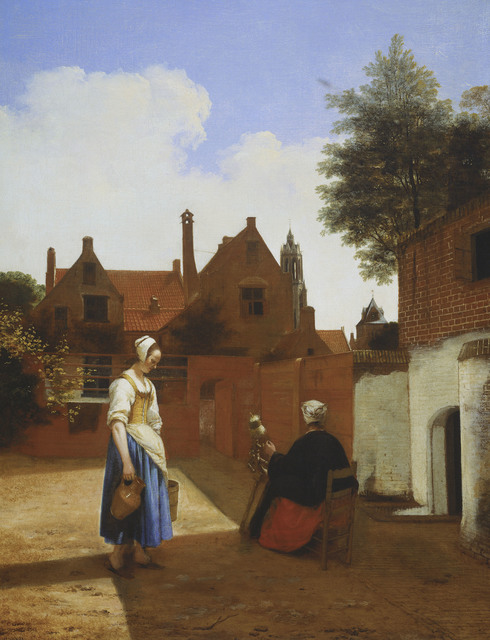 , 'A Courtyard in Delft at Evening: a Woman Spinning,' 1657, Royal Collection Trust