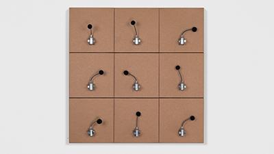 , '9 prepared dc-motors, felt balls, cardboard boxes ,' 2014, Galerie SOON