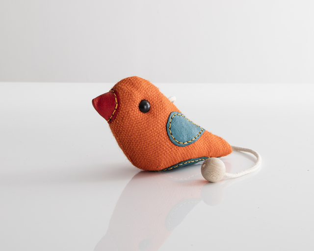 ", '""Therapeutic Toy"" Bird in orange jute with teal and red leather detailing. Designed and made by Renate Müller, Germany, 2016.,' 2016, R & Company"