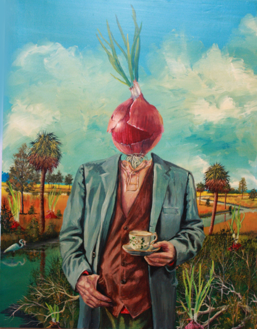 Bill Mead, 'Man with Onion Head', 2014, Painting, Acrylic on Board, Zenith Gallery