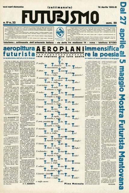 , 'Futurismo 2, no. 32 (Apr. 16, 1933),' 1933, Guggenheim Museum